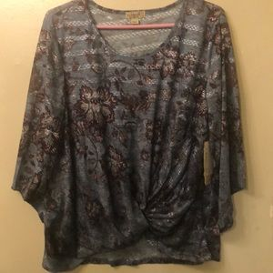 Floral Blouse twist in front